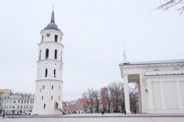VILNIUS,LITHUANIA, November 17, 2014: The Cathedral Square in Vi
