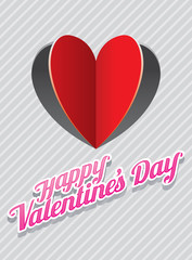Heart Shape Paper Cut Background and Valentine's Text