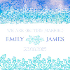 Wedding invitation or greeting card with abstract roses and