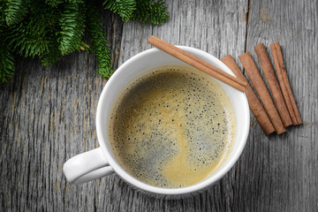 Coffee and Cinnamon for the Holidays with Christmas Pine Branch