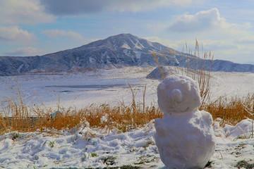 阿蘇烏帽子岳雪景色雪だるま
