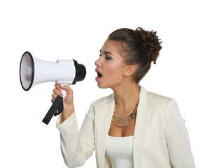 Business woman with megaphone yelling and screaming isolated on