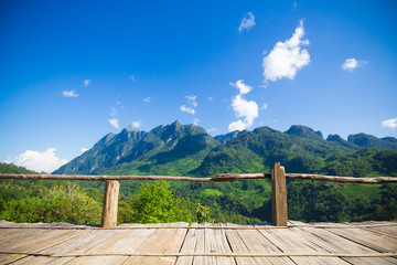 Bamboo bench terrace with the natural mountain view