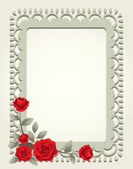 Roses Vintage Square-Shaped Frame, Border