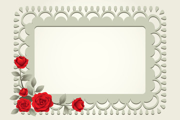 Roses Vintage Square-Shaped Frame, Border