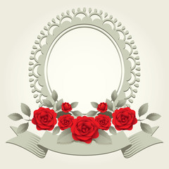 Roses Vintage Round-Shaped Frame, Border