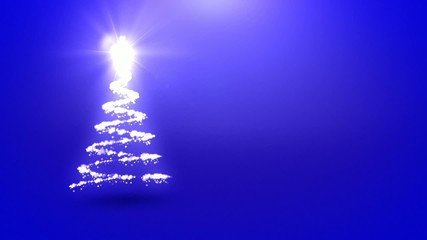 Christmas tree animation with blue background