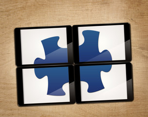 tablet with puzzle