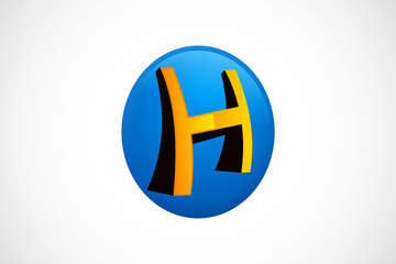 H construction 3D abstract symbol logo vector