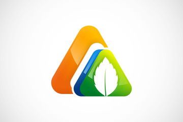 triangle natural ecology leaf abstract logo vector