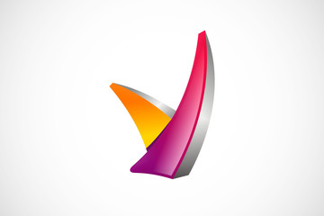 V technology 3D abstract symbol logo vector