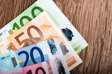 Euro banknotes on table , Euro currency