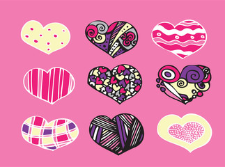 set of graphic hearts