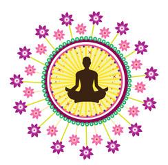 Yoga lotus posture icon