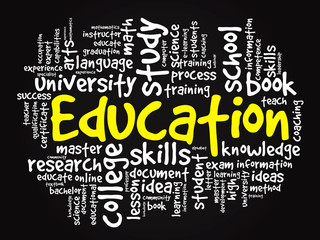 EDUCATION. Word business collage, vector black background
