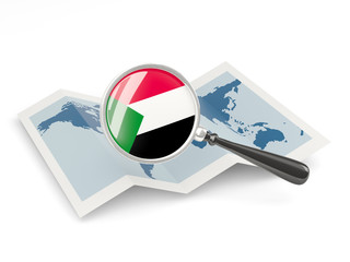 Magnified flag of sudan with map