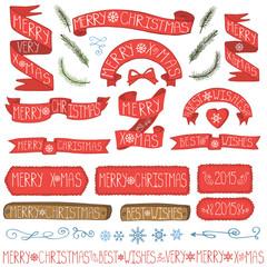 Christmas ribbons, badges,winter decor set