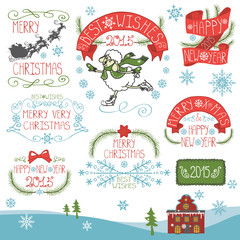 Vintage Christmas,New Year Calligraphic badges set.eps