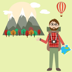 Hipster man with backpack outdoor traveling