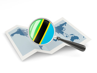Magnified flag of tanzania with map