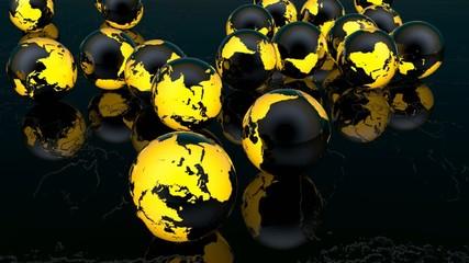 Video World bouncing balls that change color 3d rendering