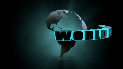 world news video with Earth rotating 3d rendering