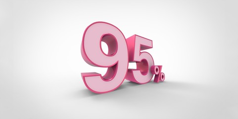 3D rendering of a pink 95 percent letters on a white background