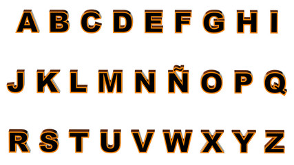Alphabet orange and black
