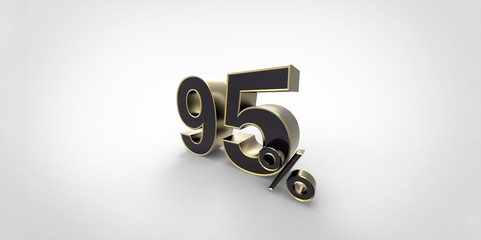 3D rendering of a black and gold 95 percent letters