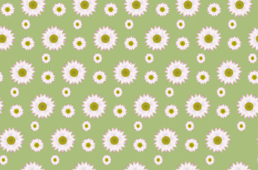 A pattern of a daisies on a green background