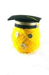 Yellow yarn graduation concept of success