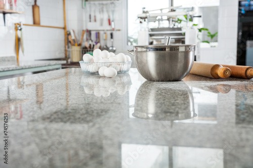 canvas print picture Ingredients On Marble Countertop In Commercial Kitchen