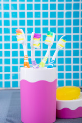toothbrushes, toothpaste, soapv