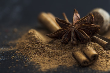 Star anise, cinnamon and nutmeg