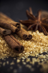 Cinnamon, sugar and star anise