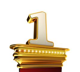 Number One on a golden platform over white