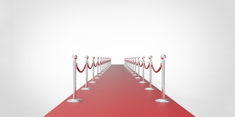 red event carpet silver chrome fence