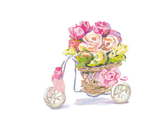 Painting rose flowers in basket on the bicycle