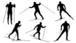 cross country ski silhouettes - 74579038