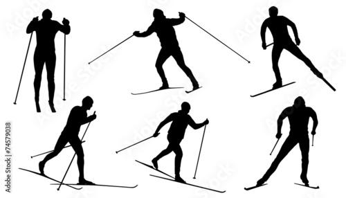 Fototapeta cross country ski silhouettes