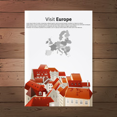 Visit Europe placard with city landscape