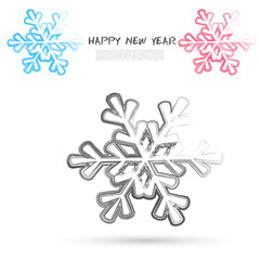 Vector sketch style of snowflakes icons.