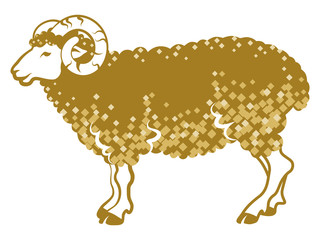 Sheep side view-golden color-Clip art