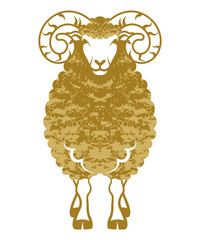 Sheep front view-golden color-Clip art
