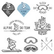 Set of retro ski emblems, badges and design elements - 74580243