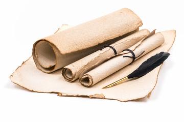 Antikes Briefpapier mit Federkiel