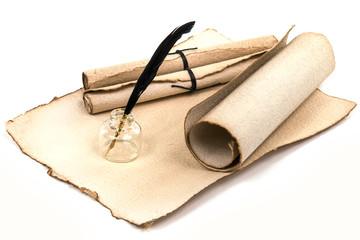 Altes Briefpapier mit Schreibfeder