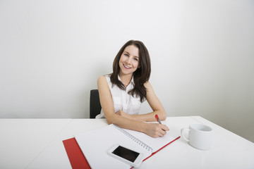 Portrait of smiling young businesswoman writing on binder at desk in office