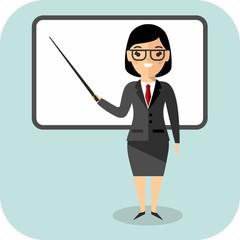 Learning  concept with teacher near blackboard