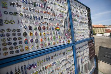 Earrings stall on charles Bridge; Prague; Czech Republic